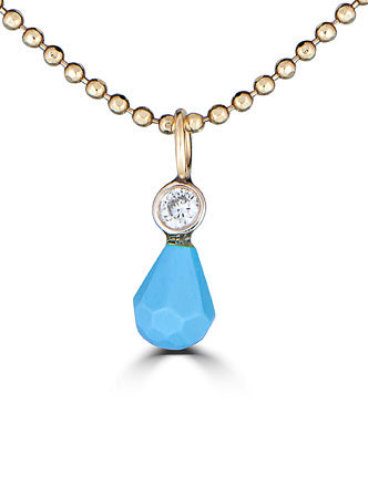 Genuine turquoise and Diamond dainty charm gold necklace