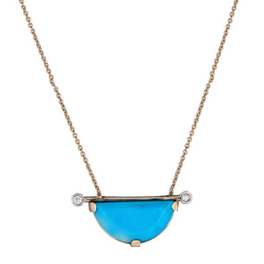 Turquoise Half-moon Horizontal Linea Necklace