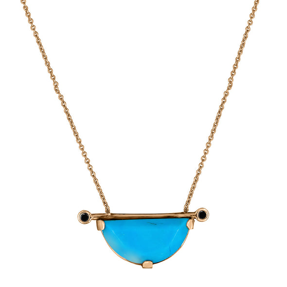 Turquoise Half moon Horizontal Linea Necklace