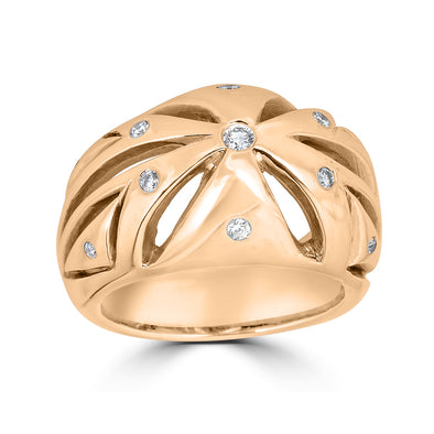 Dome ring rose gold and pave diamonds