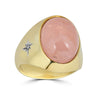 pink quartz cabochon ring in yellow gold