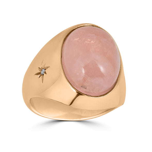 pink quartz cabochon ring rose gold