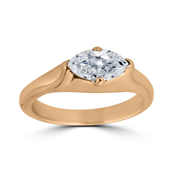 marquise diamond and rose gold ring