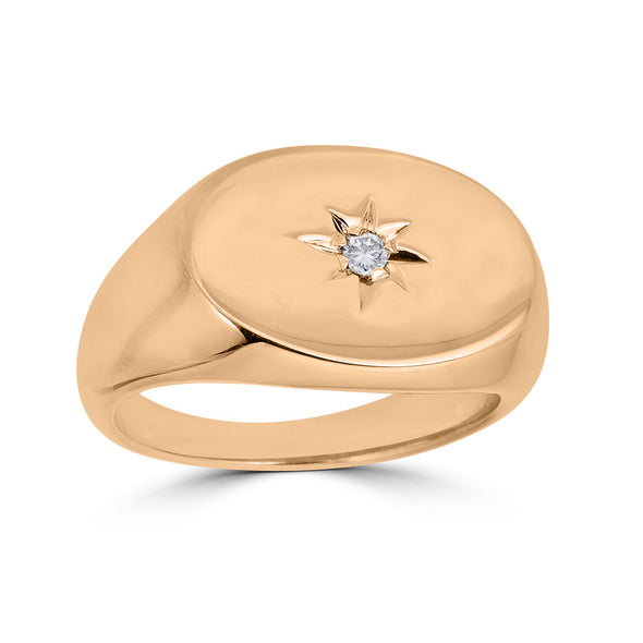 signet ring with etched star and diamond center