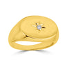 yellow gold signet ring with etched star