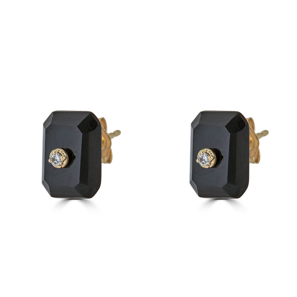 Stud Earrings with Removable Black Onyx backs (pair)