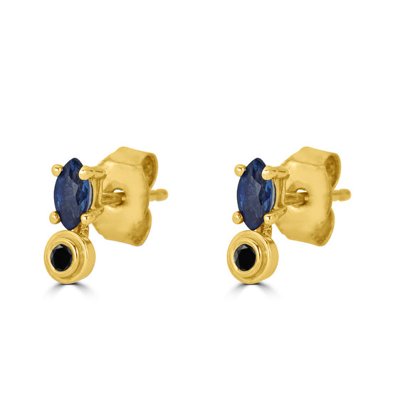 Bezel Drops Marquise Stud (single)- Black Diamond