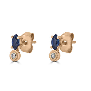Bezel Drops Marquise Stud (single)