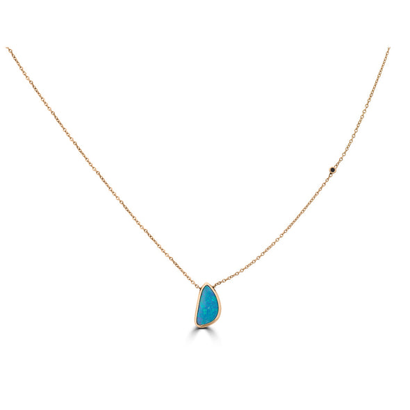 Opal Drops and Single Side Diamond Necklace