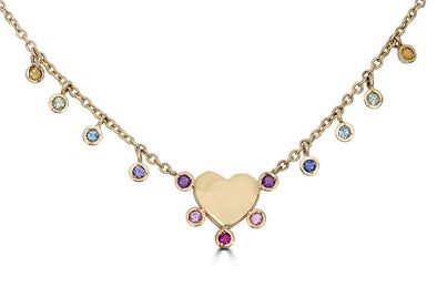 Love is Love Rainbow Sapphire Heart Necklace