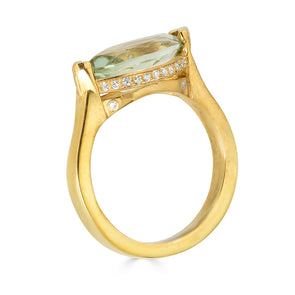 green amethyst yellow gold ring with pave diamond crown