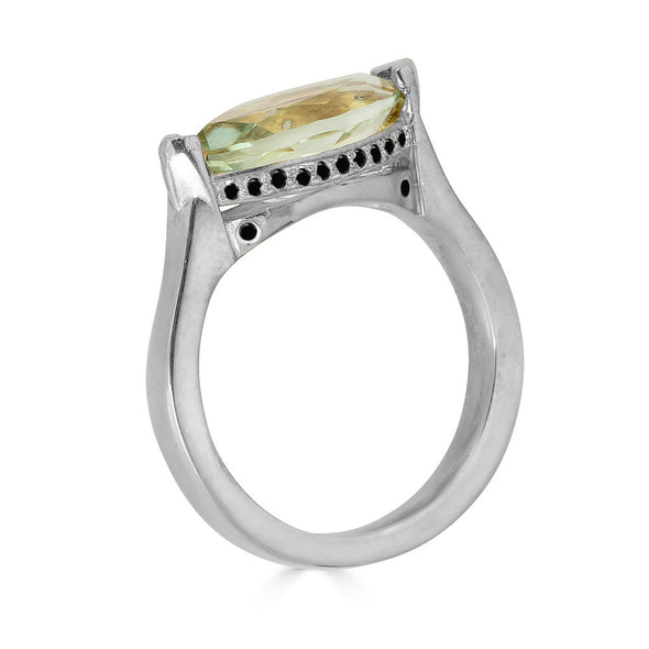 Enchanted Eyes large Marquise ring Pave Crown- White Gold