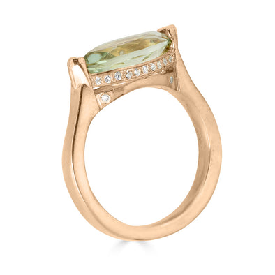 Green amethyst and rose gold ring with pave crown
