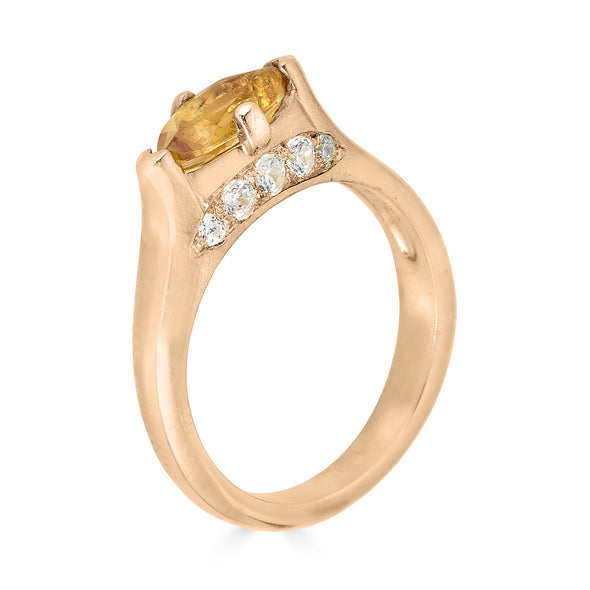 Rose gold and citrine ring with white diamond pave