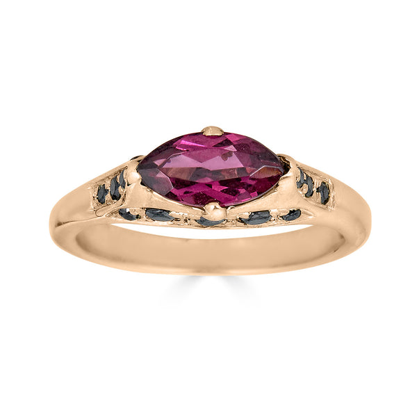 rose gold and garnet ring