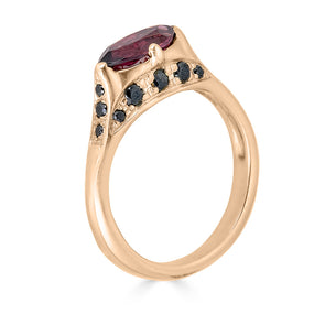 garnet and black diamond pave ring
