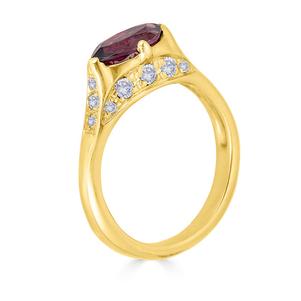 Garnet and white diamond pave ring