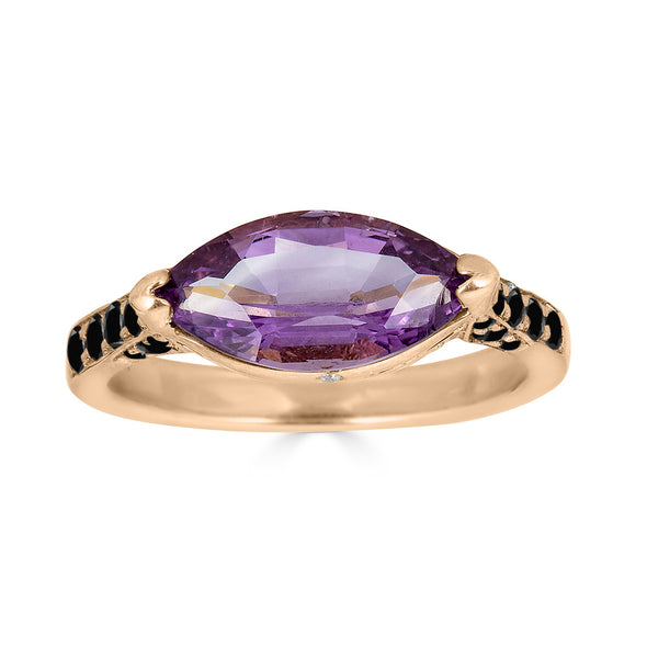 amethyst and black diamond gold ring