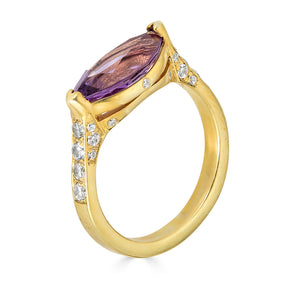 amethyst and diamond pave ring
