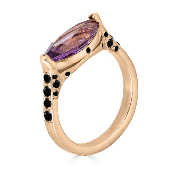 amethyst and black diamond pave gold ring