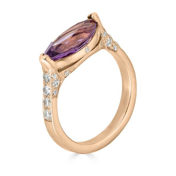amethyst and diamond pave rose gold ring