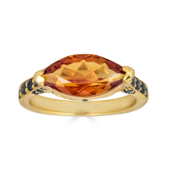Enchanted Eyes large Marquise ring Pave Sides- Yellow Gold