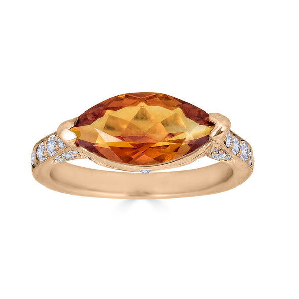 Marquise citrine and diamond pave ring