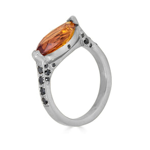citrine, white gold and black diamond ring