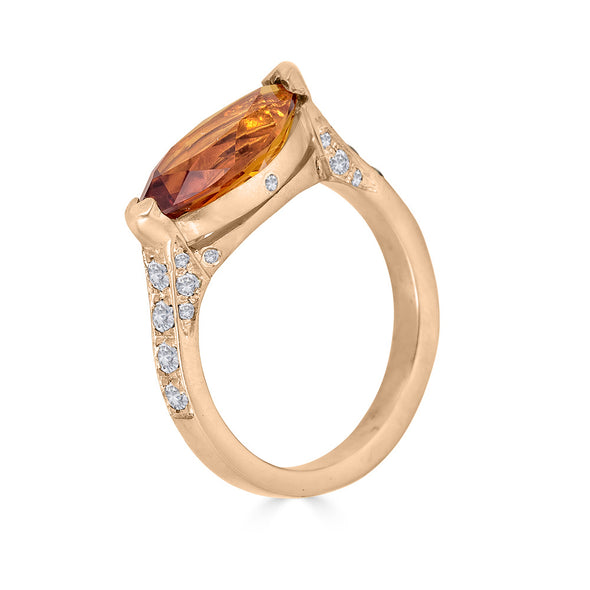 Enchanted Eyes large Marquise ring Pave Sides-Citrine