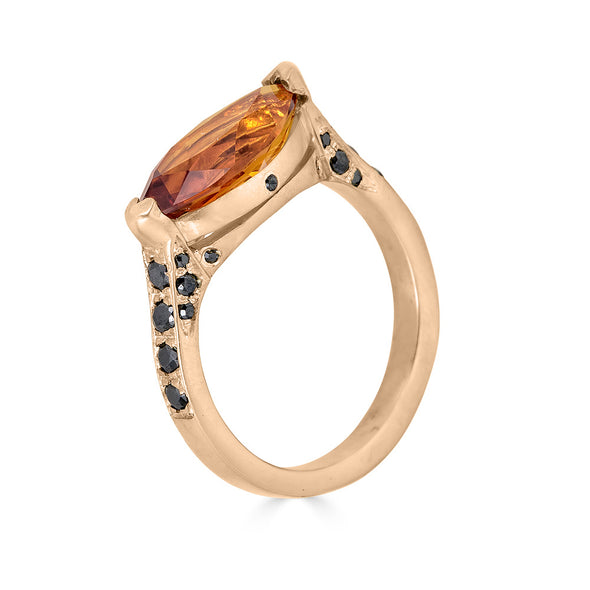citrine and black diamond marquise ring