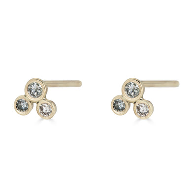 Le Basic Triple Bezel Stud Earring (single)