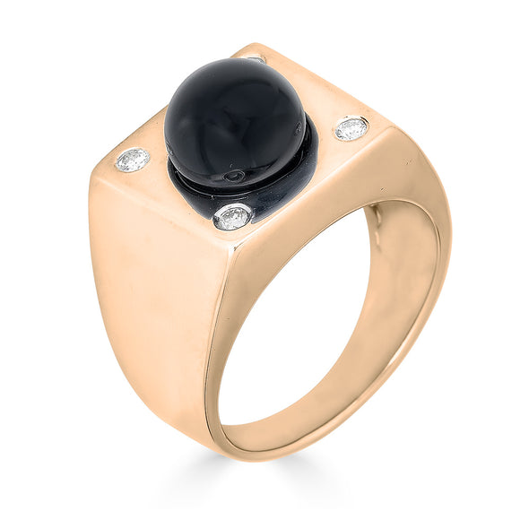 Square Onyx Signet Ball Ring