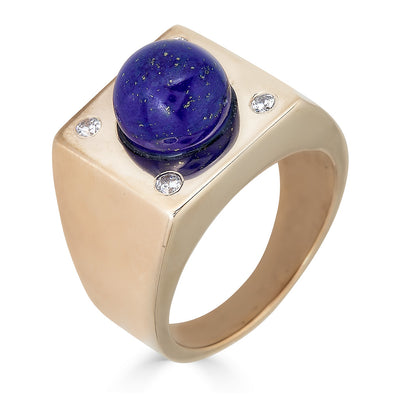 signet ring with center lapis ball and pave diamond cornets