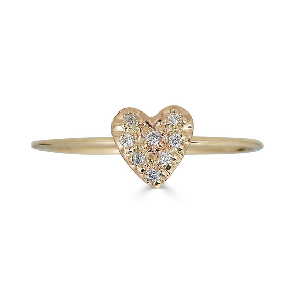 micropave heart gold ring