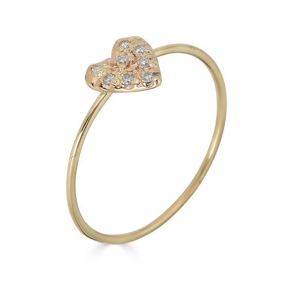 micropave heart ring yellow gold