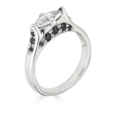 white gold and black diamond pave ring