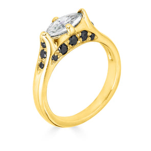 Enchanted Eyes petite Marquise crescent moon and sides pave- Yellow Gold