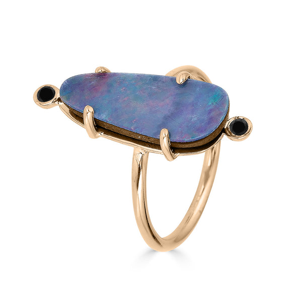 opal ring with black diamonds rose gold