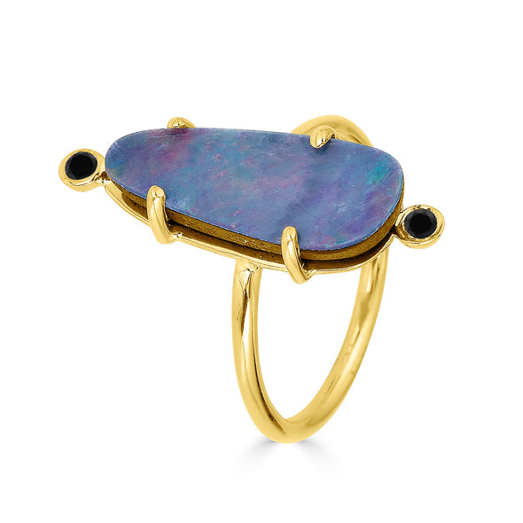 opal ring with black diamonds yellow gold