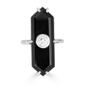 onyx and center diamond ring