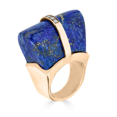 lapis lazuli, diamond and rose gold statement ring