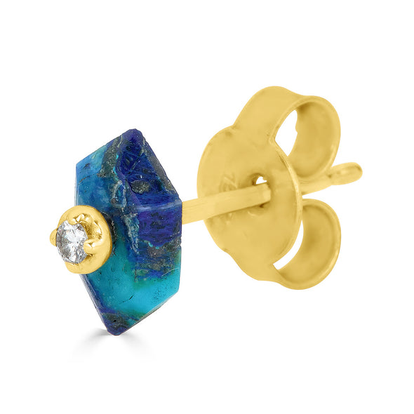 Stud Earrings with Removable Azurite backs (pair)