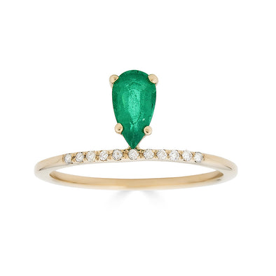 Bezel Drops Pear Emerald ring with pave band