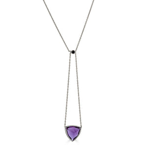 Bezel Drops Amethyst Bolo Lariat Necklace- Black Diamond
