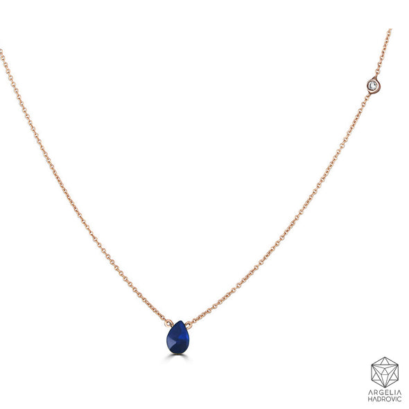 Bezel Drops Pear Blue Sapphire and side White Diamond Necklace