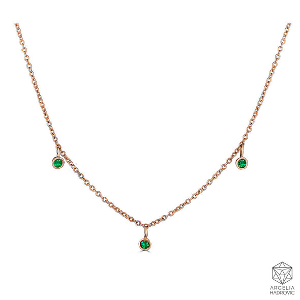 Le Basic Triple Bezel Necklace- Emerald