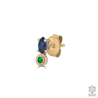 Bezel Drops Marquise Stud (single)- Emerald bezel and Sapphire