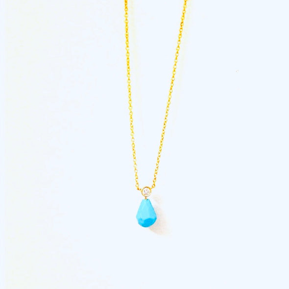 Bezel Drops Turquoise and Diamond Necklace