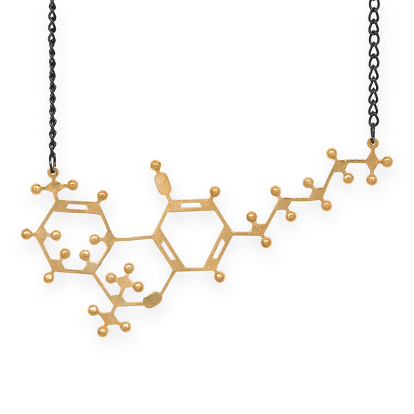 THC molecule necklace - polished brass