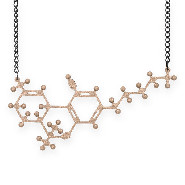 THC molecule necklace - bronze steel